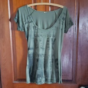 Womens Scoop Neck Casual Green Top Small